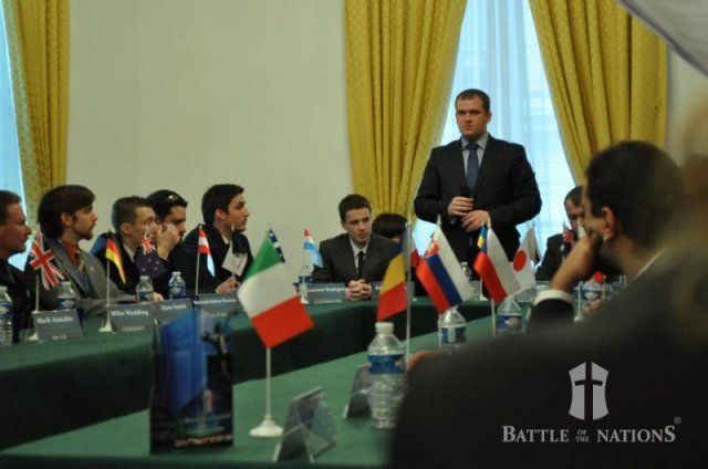 Battle of the nations Captains summit 2012. The UK flag can bee seen for the first time on the left.